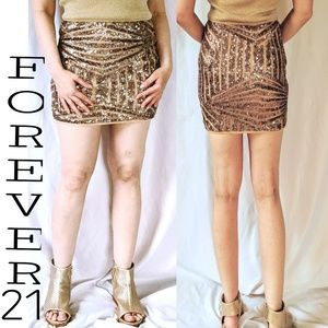 Forever 21 Gold Sequins mini skirt